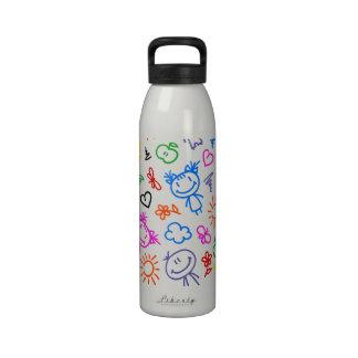Rétro motif mignon d enfants d enfants bouteilles d'eau