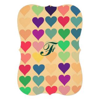 Rétro motif multi vintage de coeurs de couleur carton d'invitation  12,7 cm x 17,78 cm