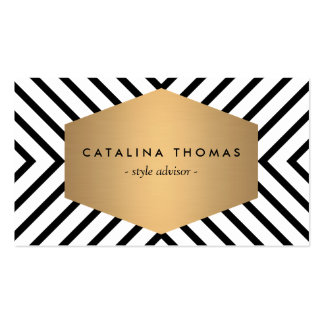 Rétro motif noir et blanc de mod avec l emblème d cartes de visite professionnelles