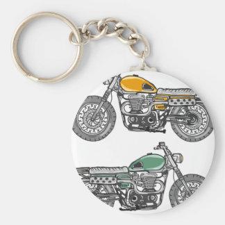 Retro Motorcycle Vector Sketch Basic Round Button Keychain