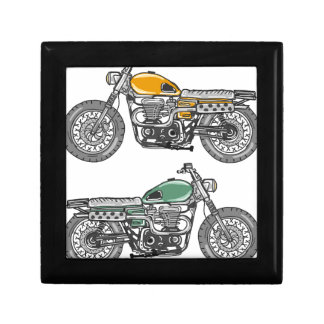 Retro Motorcycle Vector Sketch Gift Box