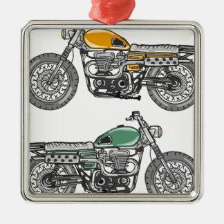 Retro Motorcycle Vector Sketch Metal Ornament