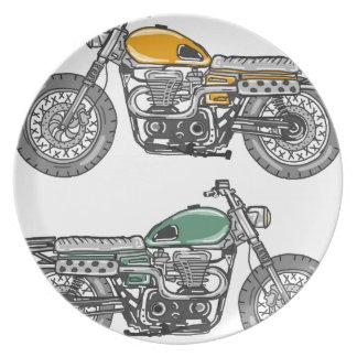 Retro Motorcycle Vector Sketch Plate