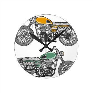 Retro Motorcycle Vector Sketch Round Clock