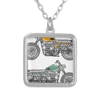 Retro Motorcycle Vector Sketch Silver Plated Necklace