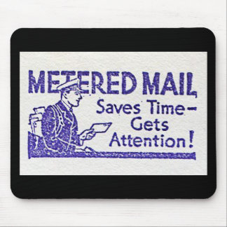 Retro Mousepad Metered Mail Save Time Stamp Old