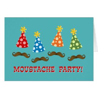 Retro Moustache Party Greeting Card