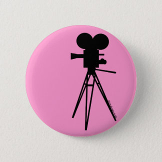 Retro Movie Camera Silhouette 2 Inch Round Button
