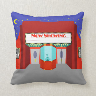 Retro Movie Theater Throw Pillow