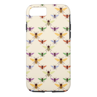 Retro multi color rainbow bees bumblebees pattern Case-Mate iPhone case