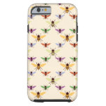 Retro multi colour rainbow bees bumblebees pattern