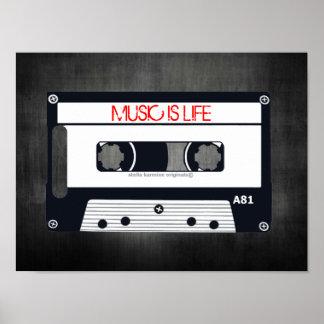 "RETRO ""MUSIC IS LIFE"" POSTER - POP ART CASSETTE"