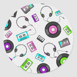 Retro Music Pattern Classic Round Sticker