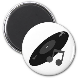 Retro Music Record & Note Black 2 Inch Round Magnet