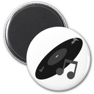 Retro Music Record & Note Black 2 Inch Round Magnet