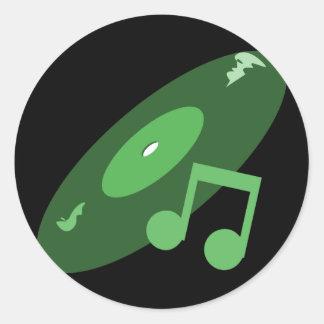 Retro Music Record & Note Green Round Sticker