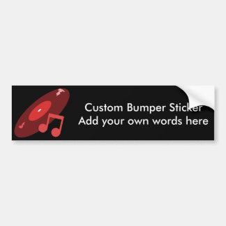 Retro Music Record Note Red Bumper Stickers