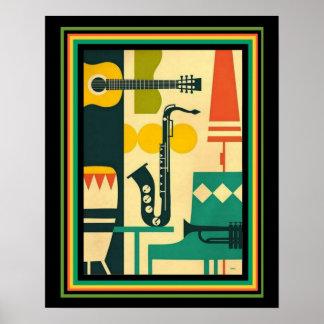 Retro Musical Instrument Print 16x20