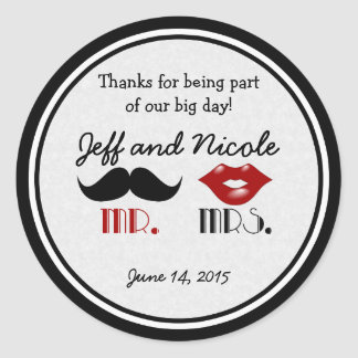Retro Mustache Custom Wedding Classic Round Sticker