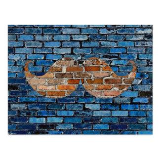 Retro Mustache on Brick Wall Postcard