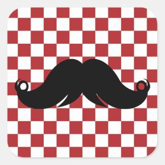 Retro Mustache on Red Checkerboard Stickers