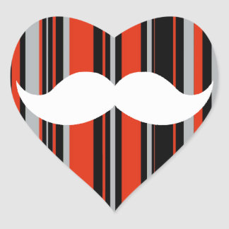 Retro Mustache Party Orange Stripes Heart Sticker