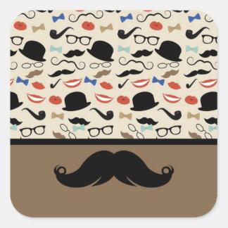 Retro Mustache Square Stickers
