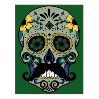 Retro Mustache Sugar Skull Postcard