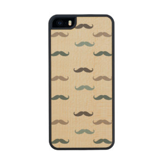 Retro Mustaches Carved® Maple iPhone 5 Case