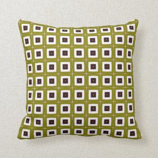 retro mustard squares throw pillow