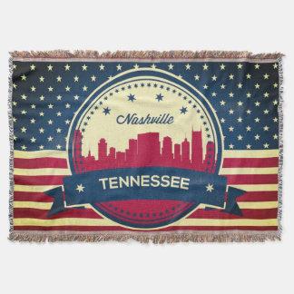 Retro Nashville Tennessee Skyline Throw Blanket