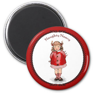 Retro Naughty Nancy 2 Inch Round Magnet