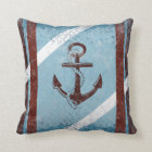 Retro Nautical Anchor Red Blue Grunge Throw Pillow
