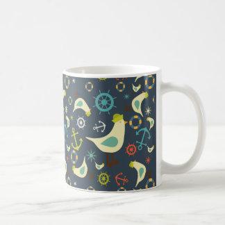 Retro Nautical Colors, with seagull pattern mug