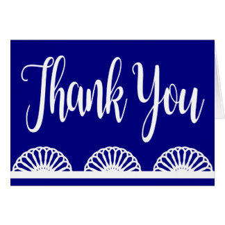 Retro Navy Blue Thank You Vintage Lace Card