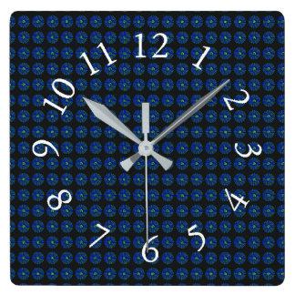 Retro-Navy-Mod-Floral-Accent-Clocks Square Wall Clock