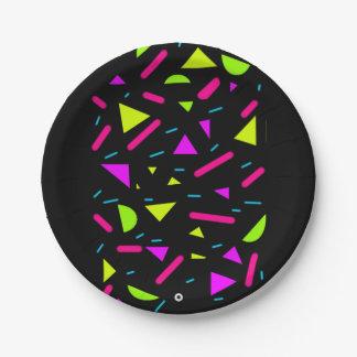 Retro Neon 80's Party Custom 7'' Paper Plates