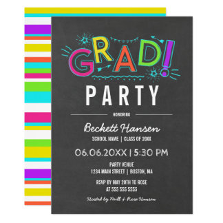 Retro Neon Doodles Chalkboard Graduate Party Card