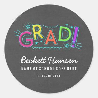 Retro Neon Doodles Chalkboard Graduation Classic Round Sticker