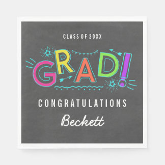 Retro Neon Doodles Graduation Party Disposable Napkins