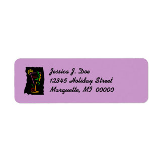 Retro Neon martini Cocktail Return address Label