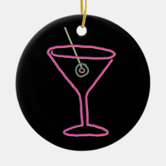 Retro Neon Martini Happy Hour Ornament