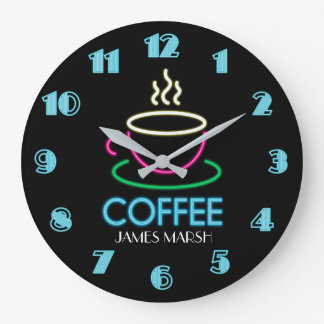 Retro Neon Sign Coffee Cafe Clocks