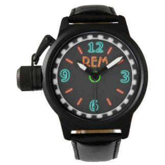 Retro Neon Sign - Orange and Turquoise - Monogram Wrist Watches