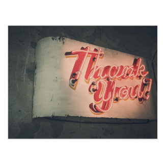 Retro Neon Sign Thank You Postcard