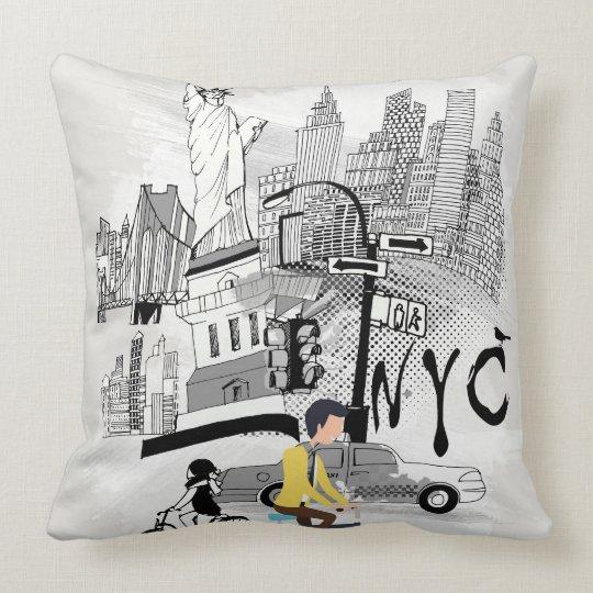 Retro New York City Printed Cushion