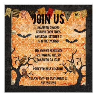 Retro Night Owls Halloween Invitation