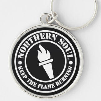 Retro Northern Soul style design Silver-Colored Round Keychain