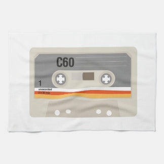 Retro nostalgic music lover cassette graphic kitchen towel