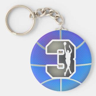Retro Number 3 Basketball Basic Round Button Keychain